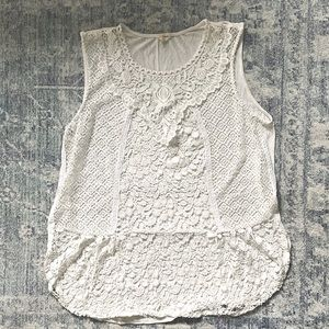 Anthropologie White Lace Front Tank size XL